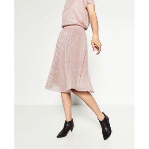 NWT Zara Pink Midi Skirt with Metallic Thread